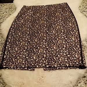 Animal print straight skirt